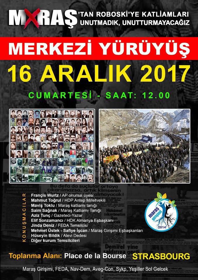 16 Aralık'ta Maraş katliamı için yürüyecekler