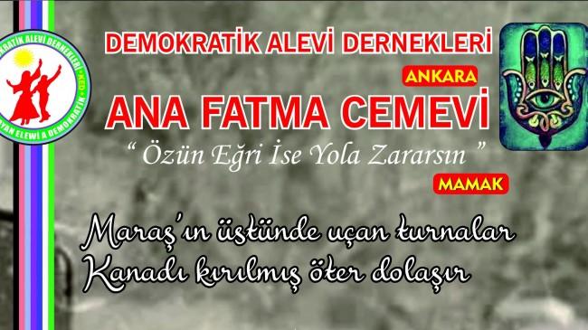 DAD Ana Fatma Cemevi'nde 20 Aralık'da Maraş anması yapılacak
