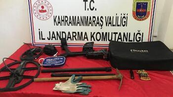 Kahramanmaraş'ta kaçak kazıya 5 gözaltı