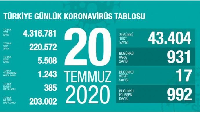 Türkiye'de vaka sayısı 220 bini aştı; bugün 17 kişi yaşamını yitirdi