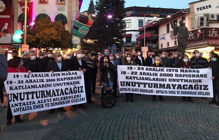 Maraş ve cezaevi katliamları Antalya'da da unutulmadı